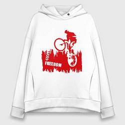 Толстовка оверсайз женская Велосипед цвета белый — фото 1