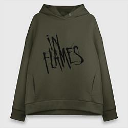 Толстовка оверсайз женская In Flames цвета хаки — фото 1
