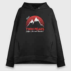 Толстовка оверсайз женская Twin Peaks: Pie & Murder цвета черный — фото 1