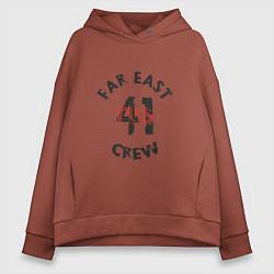 Толстовка оверсайз женская Far East 41 Crew цвета кирпичный — фото 1