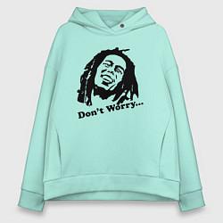 Толстовка оверсайз женская Bob Marley: Don't worry цвета мятный — фото 1