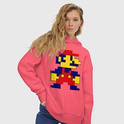 Толстовка оверсайз женская Pixel Mario цвета коралловый — фото 2
