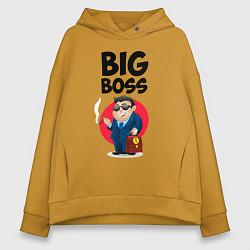 Толстовка оверсайз женская Big Boss / Начальник цвета горчичный — фото 1