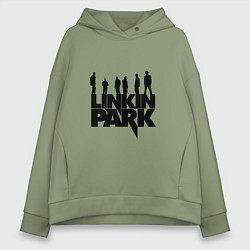 Толстовка оверсайз женская Linkin Park цвета авокадо — фото 1
