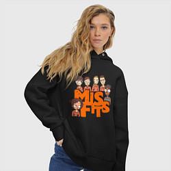 Толстовка оверсайз женская MisFits Heroes цвета черный — фото 2