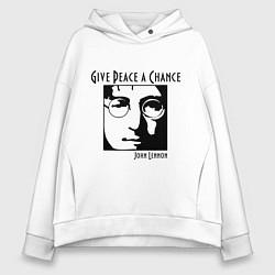 Толстовка оверсайз женская Give Peace a Chance цвета белый — фото 1