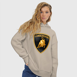 Толстовка оверсайз женская Lamborghini logo цвета миндальный — фото 2