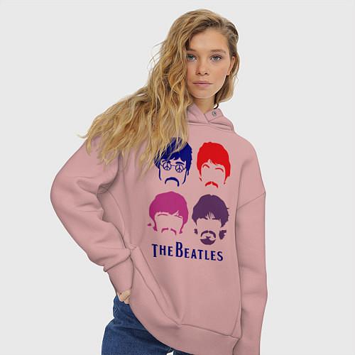 Женское худи оверсайз The Beatles faces / Пыльно-розовый – фото 3