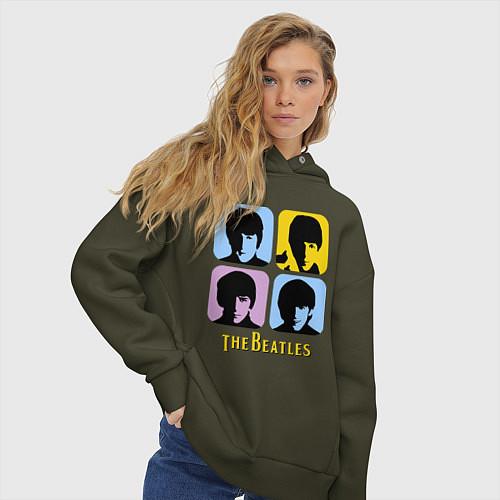Женское худи оверсайз The Beatles: pop-art / Хаки – фото 3