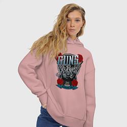 Толстовка оверсайз женская Guns n Roses: illustration цвета пыльно-розовый — фото 2