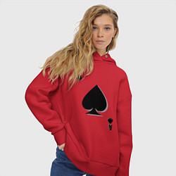 Толстовка оверсайз женская Пиковый туз цвета красный — фото 2