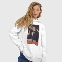 Толстовка оверсайз женская Eminem цвета белый — фото 2