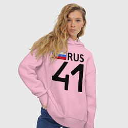 Толстовка оверсайз женская RUS 41 цвета светло-розовый — фото 2