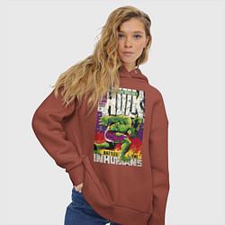 Толстовка оверсайз женская Incredible Hulk King-Size 1 цвета кирпичный — фото 2