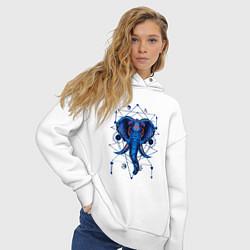 Толстовка оверсайз женская Магические знаки Слон цвета белый — фото 2