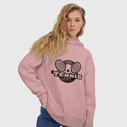 Толстовка оверсайз женская Tennis цвета пыльно-розовый — фото 2