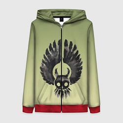 Толстовка на молнии женская Чернильная сова силуэт цвета 3D-красный — фото 1