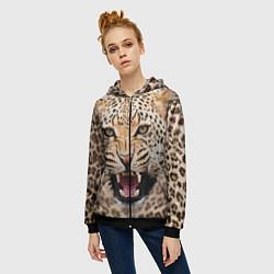 Толстовка на молнии женская Взгляд леопарда цвета 3D-черный — фото 2