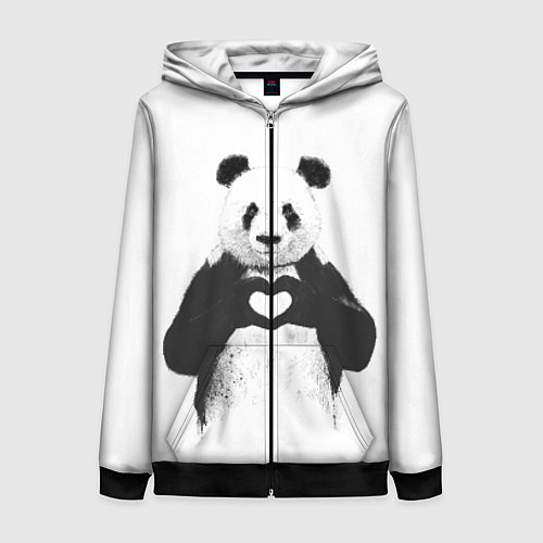 Женская толстовка на молнии Panda Love / 3D-Черный – фото 1