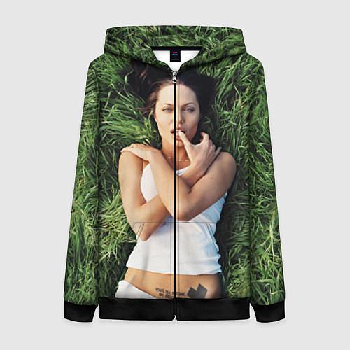 Женская толстовка на молнии Анджелина Джоли / 3D-Черный – фото 1