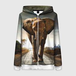 Толстовка на молнии женская Дикий слон цвета 3D-белый — фото 1