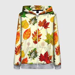 Толстовка на молнии женская Осень цвета 3D-меланж — фото 1