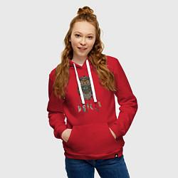 Толстовка-худи хлопковая женская Сова-шаман цвета красный — фото 2