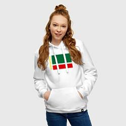 Толстовка-худи хлопковая женская Чечня: флаг цвета белый — фото 2