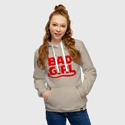 Толстовка-худи хлопковая женская Bad Girl цвета миндальный — фото 2