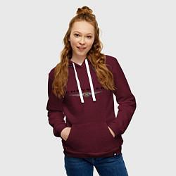 Толстовка-худи хлопковая женская Chrysler logo цвета меланж-бордовый — фото 2