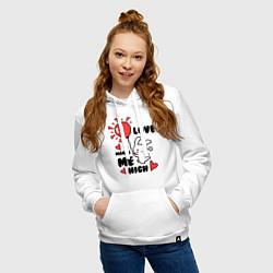 Толстовка-худи хлопковая женская Love makes me high цвета белый — фото 2