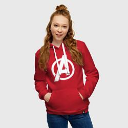 Толстовка-худи хлопковая женская Avengers Symbol цвета красный — фото 2