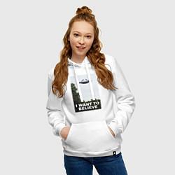 Толстовка-худи хлопковая женская I WANT TO BELIEVE цвета белый — фото 2