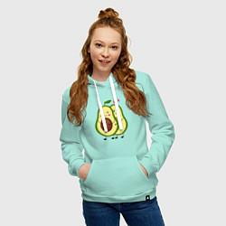 Толстовка-худи хлопковая женская Влюбленные Веганы Авокадо цвета мятный — фото 2
