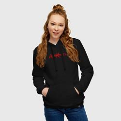 Толстовка-худи хлопковая женская Агата Кристи Лого цвета черный — фото 2