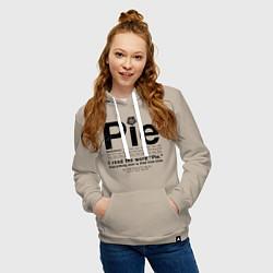Толстовка-худи хлопковая женская Pie цвета миндальный — фото 2