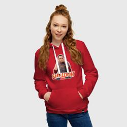 Толстовка-худи хлопковая женская Sheldon цвета красный — фото 2