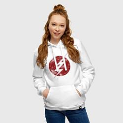 Толстовка-худи хлопковая женская The Flash logo цвета белый — фото 2