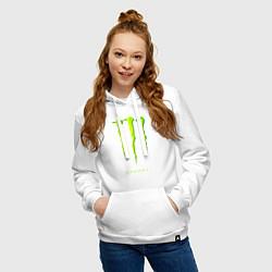 Толстовка-худи хлопковая женская MONSTER ENERGY цвета белый — фото 2
