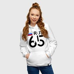 Толстовка-худи хлопковая женская RUS 65 цвета белый — фото 2