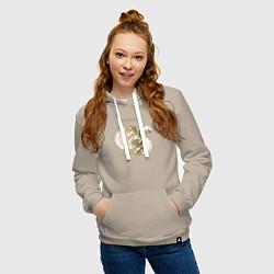 Толстовка-худи хлопковая женская Слизерин цвета миндальный — фото 2