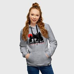 Толстовка-худи хлопковая женская Sakhalin forever цвета меланж — фото 2