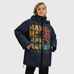 Женская зимняя 3D-куртка с капюшоном с принтом Hawaii Surfing, цвет: 3D-черный, артикул: 10100569406071 — фото 2