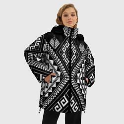 Куртка зимняя женская Индейские мотивы цвета 3D-черный — фото 2