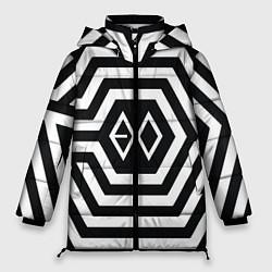 Женская зимняя 3D-куртка с капюшоном с принтом EXO Geometry, цвет: 3D-черный, артикул: 10106714006071 — фото 1