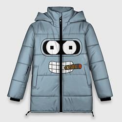 Женская зимняя 3D-куртка с капюшоном с принтом Лицо Бендера, цвет: 3D-черный, артикул: 10110983306071 — фото 1