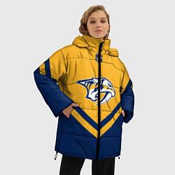 Женская зимняя 3D-куртка с капюшоном с принтом NHL: Nashville Predators, цвет: 3D-черный, артикул: 10112236106071 — фото 2