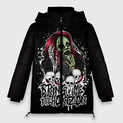Женская зимняя 3D-куртка с капюшоном с принтом Bring Me The Horizon, цвет: 3D-черный, артикул: 10112868206071 — фото 1