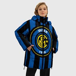 Женская зимняя 3D-куртка с капюшоном с принтом Inter FC 1908, цвет: 3D-черный, артикул: 10113557906071 — фото 2