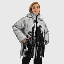 Женская зимняя 3D-куртка с капюшоном с принтом BTS Grey, цвет: 3D-черный, артикул: 10114633106071 — фото 2